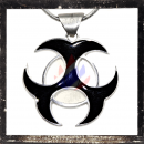 3 Celtic intersecting crescents with black inlay on sun circle