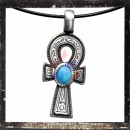 ANKH with Egyptian hieroglyphs and TURQUOISE-colored polished inlay