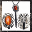 BOLOTIE / WESTERN TIE - worked filigree AMBER imitation (I)