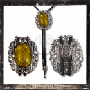 BOLOTIE / WESTERN TIE - worked filigree AMBER imitation...
