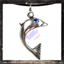 Dolphin with BLUE cut glass stone as eye