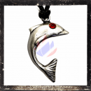 Dolphin with RED cut glass stone as eye