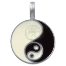 Double, large Yin & Yang Pendant in black & white