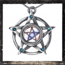 Double pentacle with 5 LIGHT BLUE cut glass stones on each tip