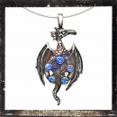 Dragon with pentagram and 5 BLUE cut glass stones