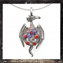 Dragon with pentagram and 5 RED cut glass stones
