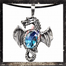 Dragon with wings outspread & LIGHT BLUE cut glass stone