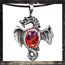 Dragon with wings outspread & RED cut glass stone