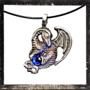 Dragon with a swingarm and BLUE cut glass stone in the clutches
