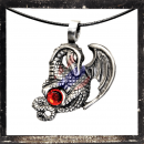Dragon with a swingarm and RED cut glass stone in the clutches