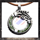 Dragon amulet with glas inlay in LIGHT-GREEN