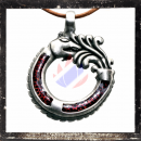 Dragon amulet with glas inlay in RED