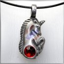 Unicorn with cut *RED* Glass Stone (I)