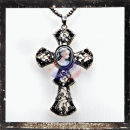 Filigree Cross with LADY CAMEO and cut glass stones