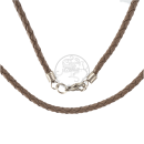 Braided brown cotton-necklace in leather look with metal lock