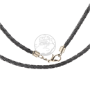 Braided black cotton-necklace in leather look with metal...