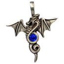 Winged dragon with cut glass stone