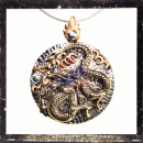 Large, heavy 3-colored dragon amulet (about 70 g, 5 x 6.8...