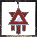 Hexagram with stylized drop of blood with RED Color inlay
