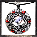 Celtic pendant with 6 RED glass stones and ornaments