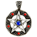 Pentacle with 5 RED & 1 BLUE cut glass stones