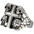 4 skull with cross biker skull ring stainless steel 316L