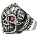 Pirate Skull Eye Patch Biker Ring Stainless Steel 316L Red