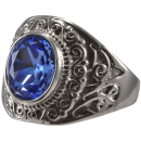 Seal Ring Zircon Blue Statement Biker Ring Stainless...