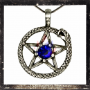 Snake as a sun with pentagram & 1 central ground cutted BLUE Glass stone