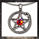 Snake as a sun with pentagram & 1 central ground cutted RED Glass stone