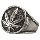 Signet Ring HEMP-LEAF Biker Ring