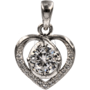Silver Heart (I) (925) with cut zirconia