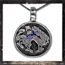 Dancing Chinese dragon on a round medallion