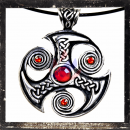Triskel with 1 large and 3 small RED cut glass stones