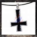 Upside down cross with black lacquer inlay