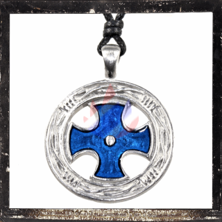 Amulet with the cross of the Crusaders as BLUE inlay
