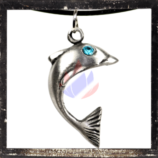 Dolphin with LIGHT-BLUE cut glass stone as eye