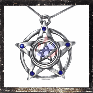 Double pentacle with 5 BLUE cut glass stones on each tip