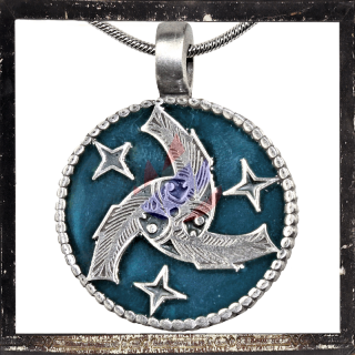 Celtic triskel with stars and fish on BLUE base plate