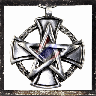 Pentacle on a large cross with sun circle