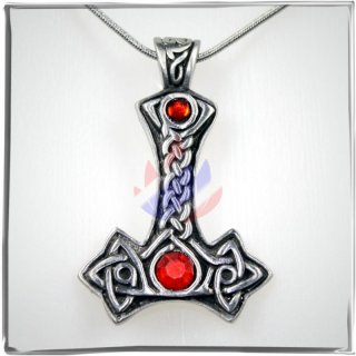 Thors Hammer with two *RED* cut glass stones and celtic ornaments