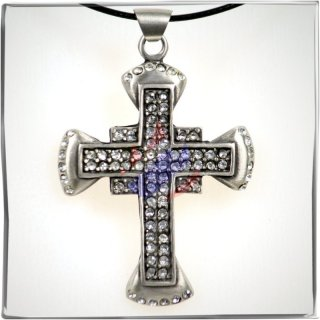 Gothic Cross with 84 WHITE cut glass stones