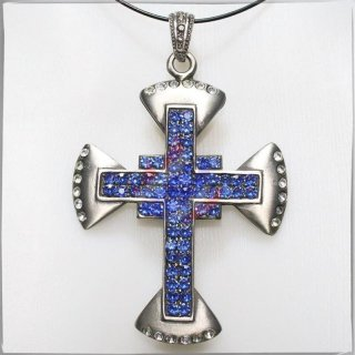 Large Cross with 34 WHITE and 52 BLUE cut glass stones