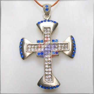 Large Cross with 34 BLUE and 52 WHITE cut glass stones