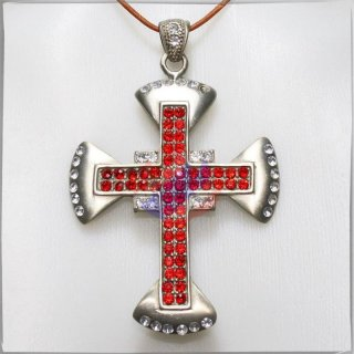 Large Cross with 34 WHITE and 52 RED cut glass stones