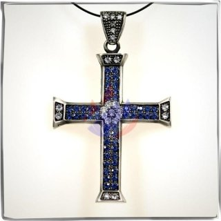Large Cross with 23 WHITE and 48 BLUE cut glass stones