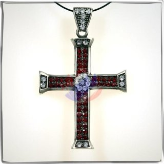 Large Cross with 23 WHITE and 48 RED cut glass stones